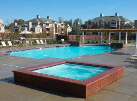 commercial swimming pool with hot tub