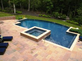 swimming pool with square hot tub