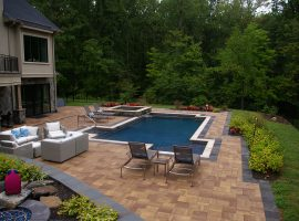 Residential - Shotcrete - Geometric - Spa - Modified Rectangle - Tanning Shelf - Colored Coping - Chesterfield,VA