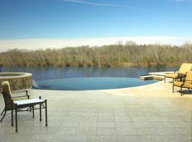 Residential - Shotcrete - Freeform - Spa - Vanishing Edge - Water Feature - Elliptical - Pebble Tech - Travertine Deck - Richmond,VA