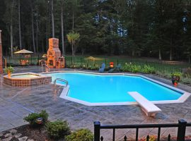 Residential - Shotcrete - Spa - Modified Lazy L-Diving Board - Stamped Concrete - Chesterfield,VA