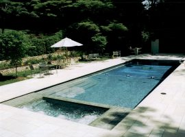 long pool with spa